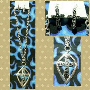 Shiny Silverstone Cross Necklace & Earrings Set
